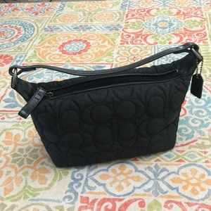 Coach black quilted top handle pouch purse
